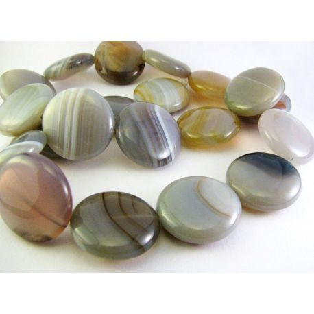 Bostvana agate beads gray - white - yellowish in the shape of a coin 20mm