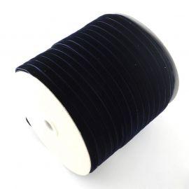 Vienpusė velvetinė juostelė, juodos spalvos su mėlynu a spalvos 12 mm, 1 metras