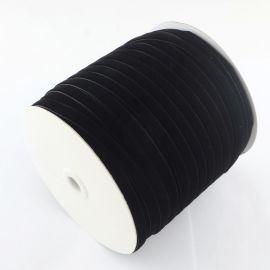 Vienpusė velvetinė juostelė, juodos spalvos 12 mm, 1 metras