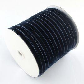 Vienpusė velvetinė juostelė, tamsiai mėlyna spalvos 6 mm, 1 metras