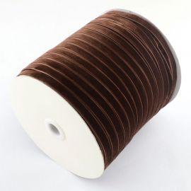 Лента бархатная односторонняя коричневая 6 мм, 1 метр