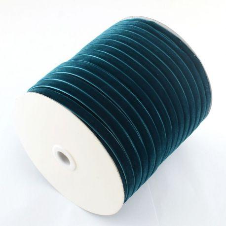 One-sided corduroy strip, dark electric (bluish) colour 9 mm, 1 meter