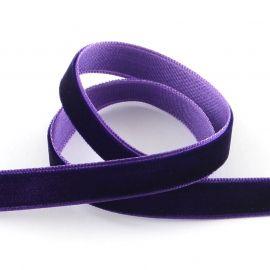 Vienpusė velvetinė juostelė, violetinės spalvos 9 mm, 1 metras