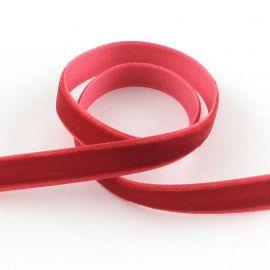 Vienpusė velvetinė juostelė, raudonos spalvos 9 mm, 1 metras
