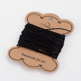 Genuine leather cord, black 1 mm, 1 roll