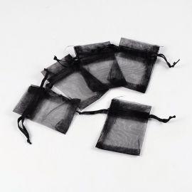 Organza bag, black, size 7x5 cm, 5 pcs.