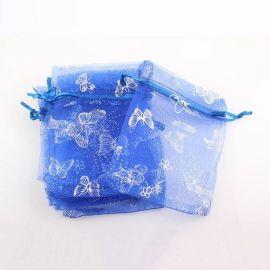 """Organzos maišelis """"Drugelis"""" skirtas supakuoti suvenyrams papuošalams, smulkmenoms. Mėlynos spalvos, kaina - 0,21 Eur už 1 vnt."""