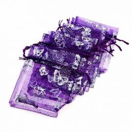 """Organzos maišelis """"Drugelis"""" skirtas supakuoti suvenyrams papuošalams, smulkmenoms. Violetinės spalvos, kaina - 0,21 Eur už 1 vn"""
