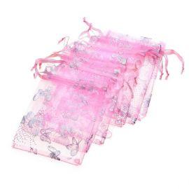 "Organza bag ""Butterfly"", pink, 12x9 cm, 4 pcs."