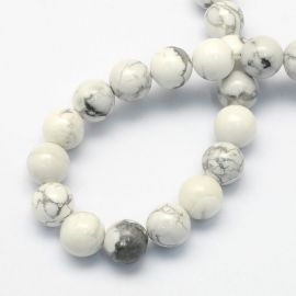 Natural houlite beads, white-gray, necklaces, bracelets, worth 8.5 mm, 1 strand