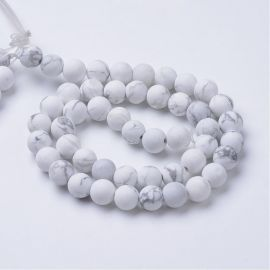 Natural houlite beads, white-gray, 8 mm, 1 strand