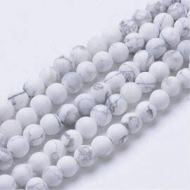 Natural houlite beads 8 mm, 1 strand