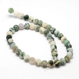 Natural moss agate beads 8 mm, 1 strand