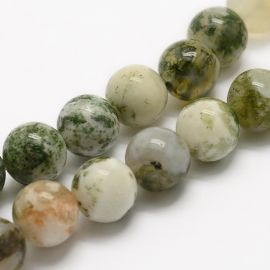 Natural moss agate beads 10 mm, 1 strand