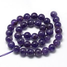 Natūralūs ametisto karoliukai, violetinės spalvos, vėriniams, apyrankėms, verti 10mm, 1 gija