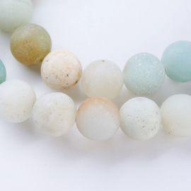 Natūralūs amazonito karoliukai, žalsvos-rusvos-gelsvos spalvos, vėriniams, apyrankėms, verti 8 mm, 1 gija