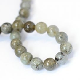 Natural labradorite beads, light gray, 8-9 mm, 1 strand