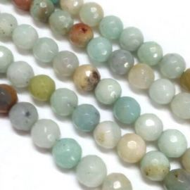 Natūralūs amazonito karoliukai, žalsvos-rusvos-gelsvos spalvos, vėriniams, apyrankėms, verti 10 mm, 1 gija