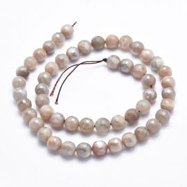 Natural Solar Stone Beads, Grey-Brown-Pink, 8 mm, 1 strand
