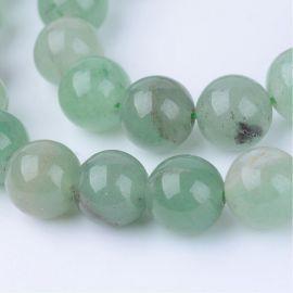 Natūralūs avantiurino karoliukai, žalios spalvos, 10-11 mm, 1 gija