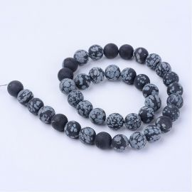 Natural snow obsidian beads, 9-10 mm, 1 strand