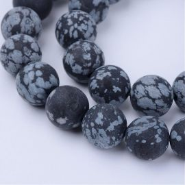 Natural snow obsidian beads 9-10 mm., 1 strand