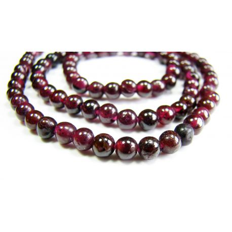 Natural pomegranate stone beads 3 - 4 mm
