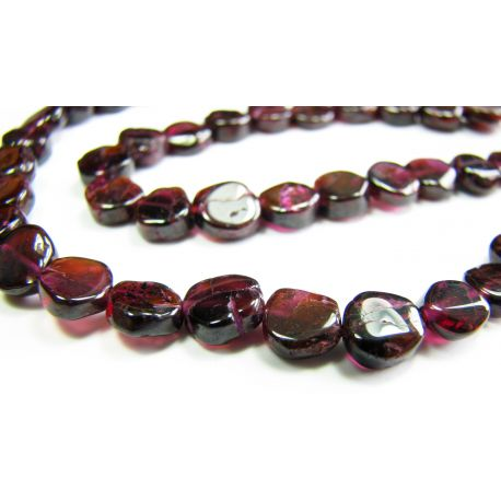 Natural pomegranate stone beads 6 - 7 mm.