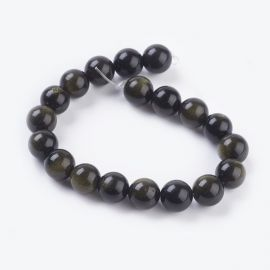 Natural obsidian beads 9-10 mm., 1 strand