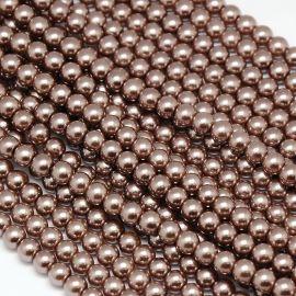 Стеклянный жемчуг класса АА, коричневый, колье, браслеты, номинал 10 мм, 1 нить