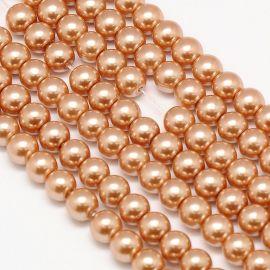 Стеклянный жемчуг класса АА, светло-коричневый (бежевый), колье, браслеты, номинал 10 мм, 1 нить