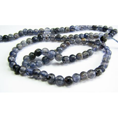 Natural iolite stone beads 3 - 4 mm. Hand-processed.