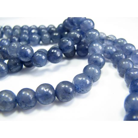 Natural iolite stone beads 7-8 mm. Hand-processed.