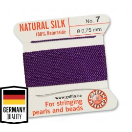 GRIFFIN silk strandwith needle, No.7, 0.75 mm., 2 m., 1 roll