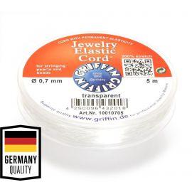 GRIFFIN elastinė gumutė, skaidri, perlams, vėriniams, apyrankėms, akmenėliams, karoliukams verti 0.7 mm storio, 5 m., 1 ritė