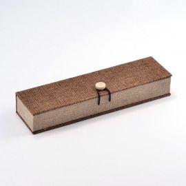 Деревянная подарочная коробка для колье, коричневая 242x65 мм, 1 шт.