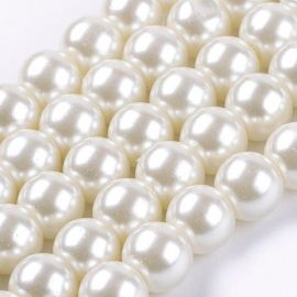 Glass pearls of champagne, necklace, 8 mm, 1 strand
