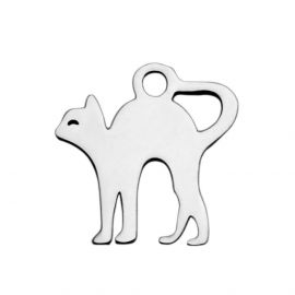 Stainless steel 304 cat pendant, 12.5x12x1 mm., 1 pcs.