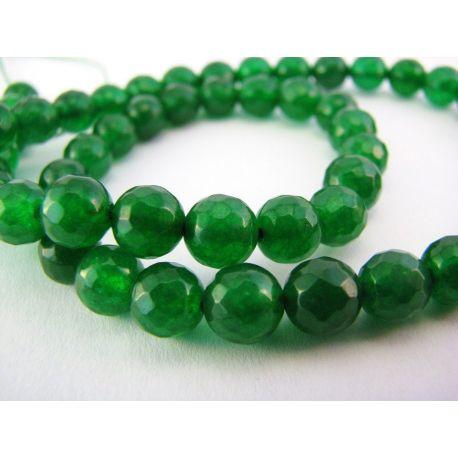 Emeraldo karoliukai žalios spalvos briaunuoti apvalios formos 6 mm
