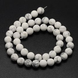 Natural houlite beads . White-gray, round shape, price - 7.5 Eur per 1 strand