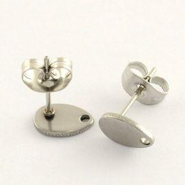 Nerūdijančio plieno 304 auskarų kabliukai su fiksatoriumi . Nikelio spalvos, kaina - 0,4 Eur už 1 pora