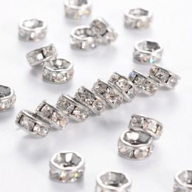 Stainless steel 316 spacer with rhinestones, 6x3 mm., 6 units. 1 bag