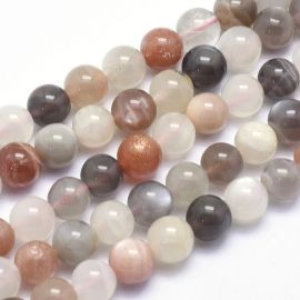 Natural beads of moonstone . White-gray-beige, round shape, price - 16 Eur per 1 strand
