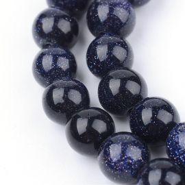 Синтетические ночные бусины Cairo. Темно-синий с пайетками, круглая форма, цена 6.5 Eur за 1 прядь.