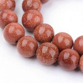 Бусины из синтетического солнечного камня. Коричневый, круглая форма, цена - 6.5 Евро за 1 прядь