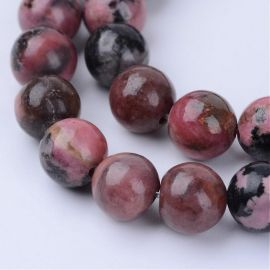 Natural rhodonitis beads, 10 mm., 1 strand