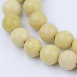 Бусины натуральные жёлтые, 10 мм., 1 нитка