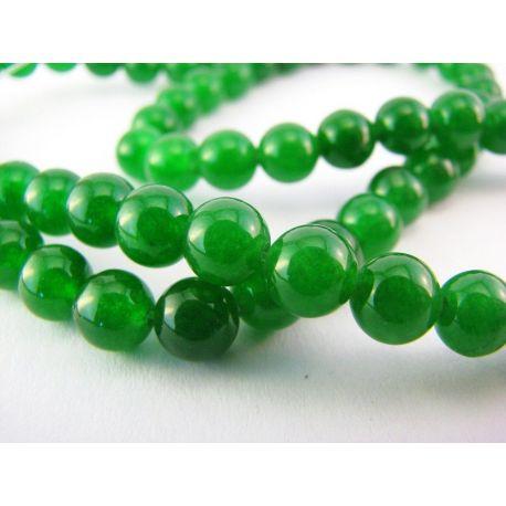Smaragda krelles zaļa apaļa forma 6mm