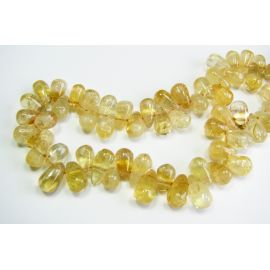 Natural lemon stone beads 7-10 mm. Drop shape. Hand-worked.