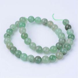 Natural green Avantiurin beads semi-transparent, 6-7 mm., 1 strand